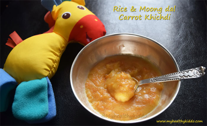 rice moongdal carrot khichdi for babies
