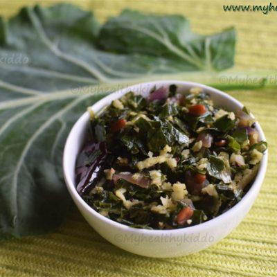 Collard greens Indian style Stir fry recipe | Collard greens Poriyal